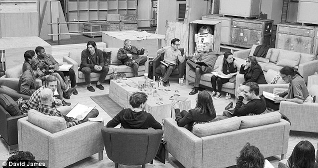 Table read: Lupita joins original trilogy stars Harrison Ford, Carrie Fisher, and Mark Hamill as well as newcomers Adam Driver, Andy Serkis, and Max von Sydow
