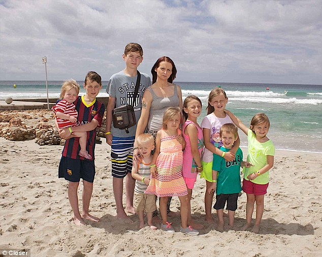 Cheryl Prudham, 32, defended her use of taxpayers' cash for her holiday with children George, 14, Jack, 13, Caitlin, nine, Maisie, eight, Millie, six, Madison, five, Leon, three, Lenny, two, and Lainey, one