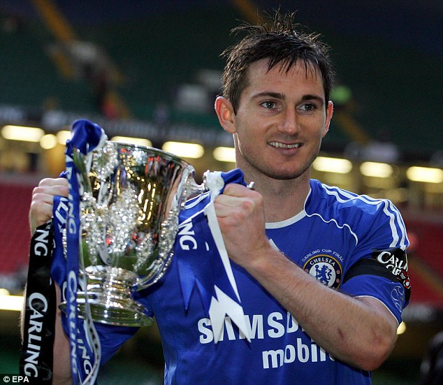 Silver lining: Lampard celebrates with the League Cup in 2007