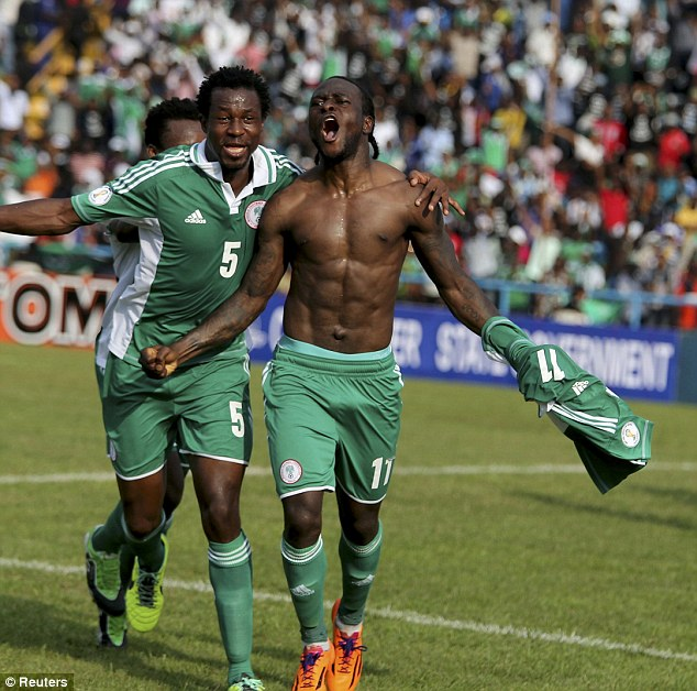 Joy: Moses celebrates after scoring for Nigeria in a World Cup qualifier against Ethiopia