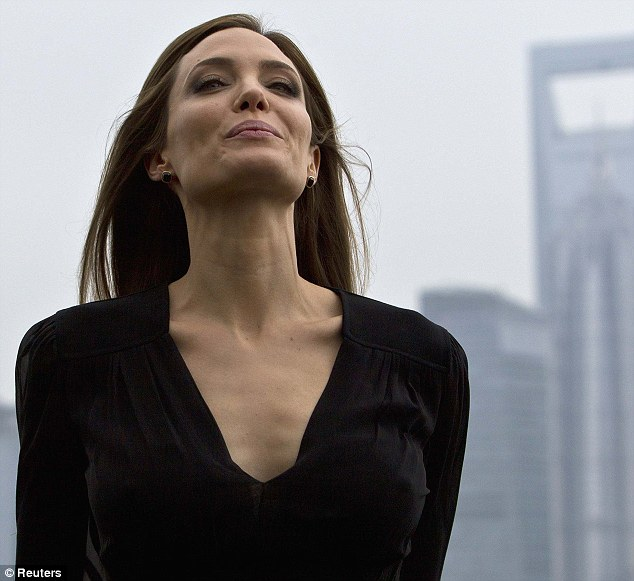 Smile for the cameras! Angelina Jolie strikes a pose as she speaks with press