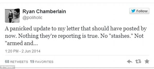 Denied from beyond that grave? Chamberlain scheduled this tweet to be sent out after his apparent suicide note in which he denied allegations he was on any sort of rampage