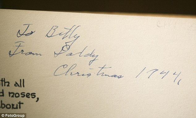 The gift inscription Ms Fowkes' father wrote to her when he gave her the book when she was 11 years old