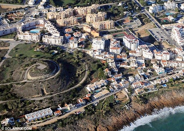 Aerial: The mount of land being searched is clearly see on the left of this picture and is a landmark in Praia da Luz. In the top right hand corner is the complex the McCanns stayed in in 2007