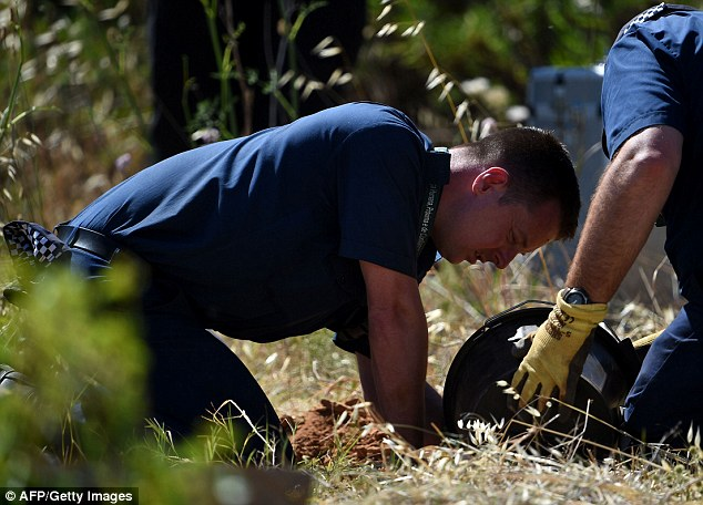 Working: A team of 30 Scotland Yard detectives with sniffer dogs, picks and shovels are again searching scrubland in Praia da Luz