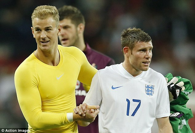 Brothers in arms: Milner is good friends with Manchester and England team-mate Joe Hart