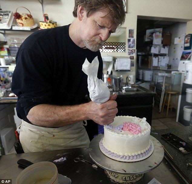Rising anger: Baker Jack Phillips, from Denver, Colorado, said he will stop baking wedding cakes completely after a landmark ruling declared he was wrong to refuse an order from a gay couple on the grounds of belief