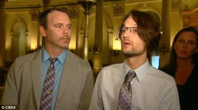 Court battle: Charlie Craig, 34 (left) and his husband David Mullins, 29 (right) have fought the decision for almost two years after the American Civil Liberties Union took up their case. Mr Mullins said he was 'thrilled'