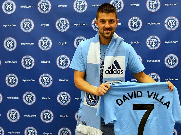 First of many: New York FC posted a picture of Villa holding the shirt on their Twitter account