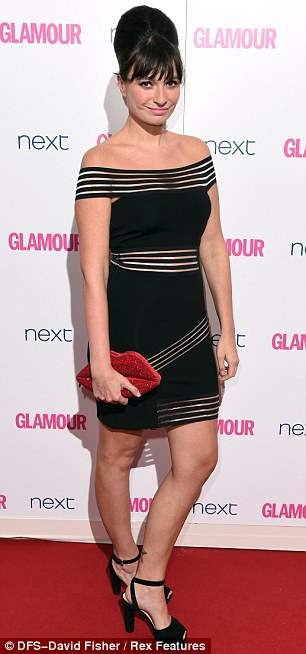 Stripes: Gizzi Erskine went for a off-the-shoulder minidress, while Ella Henderson oozed glamour in her sheer stripey floor-length gown