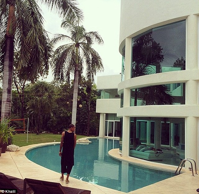 Company: Pals including the R & B singer Khalil were with Bieber at the stunning poolside hideaway