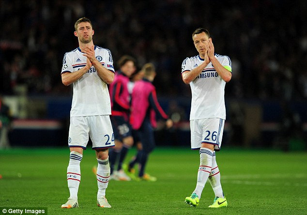 Absent: John Terry (right) would have been the perfect partner for Gary Cahill (left) according to Lineker