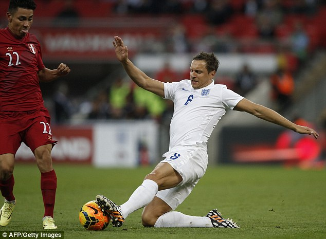 Undercooked: Phil Jagielka played against Peru (pictured) but he has a lack of match practice this year