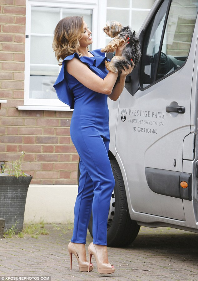 Pampered pooch: Jess Wright is super happy as she takes her dog Bella to a mobile grooming spa