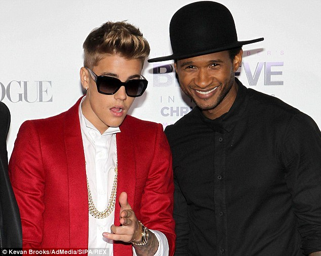 Showing him the way: Usher took Justin aside and showed him some racist videos to help him understand why his behaviour was so terrible