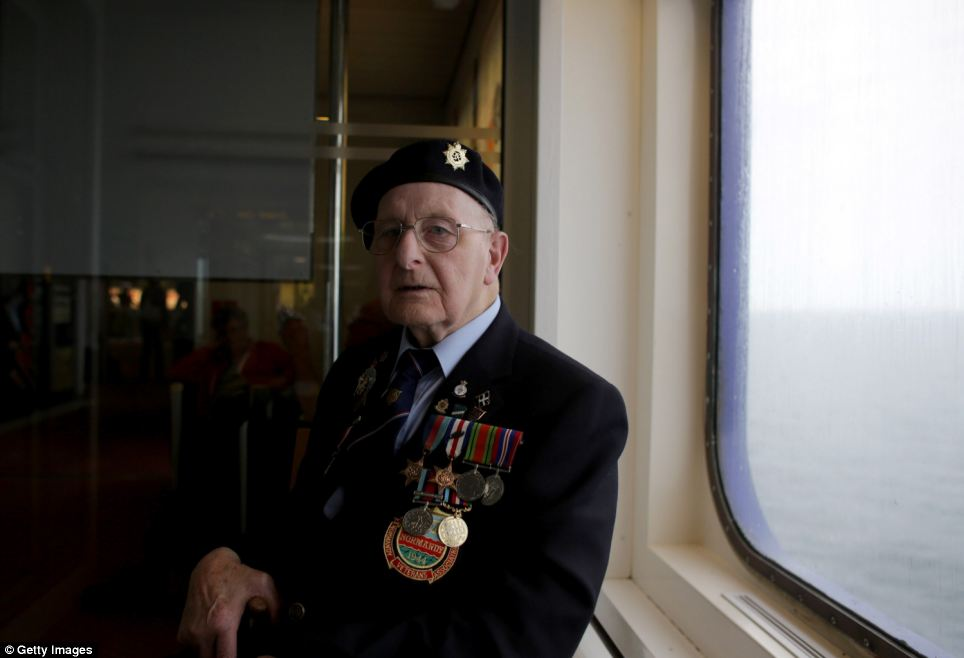 Ronald Penglase, 89, who was in the Royal Army Ordnance Corps and landed at Sword Beach, takes time to reflect as he travels to France