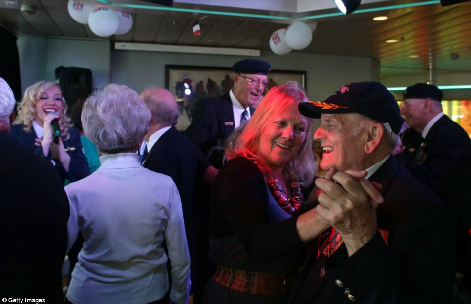 British veterans were joined by former servicemen from the US for the trip and enjoyed music and dancing during the six hour crossing to the French port of Caen