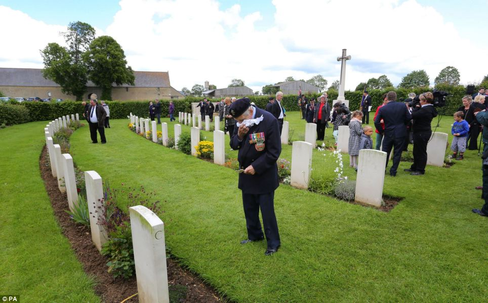 Many veterans took a moment to reflect on D-Day as they attended Jerusalem Cemetery, which is close to the scene of a bitter fight where a German armoured column sought to retake Bayeux shortly after its liberation