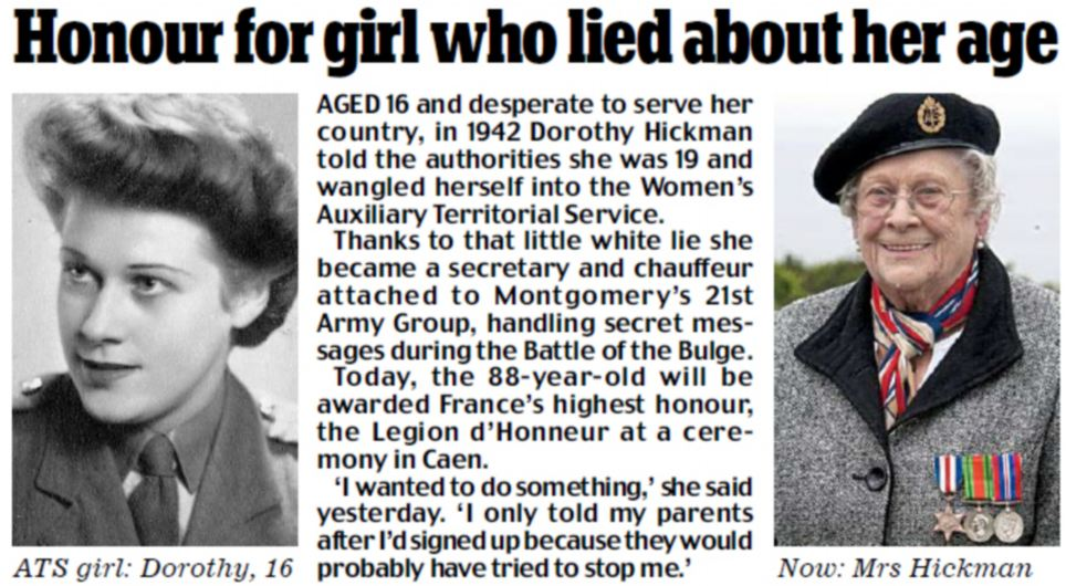 Honour for the girl who lied about her age