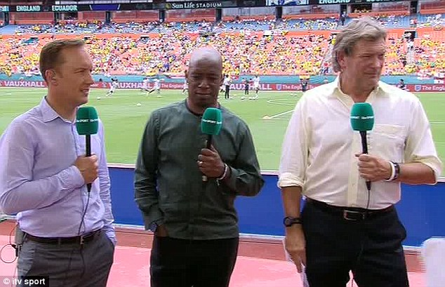 Bemused: Pundits Lee Dixon, Ian Wright and Glenn Hoddle look on following Chiles' mistake