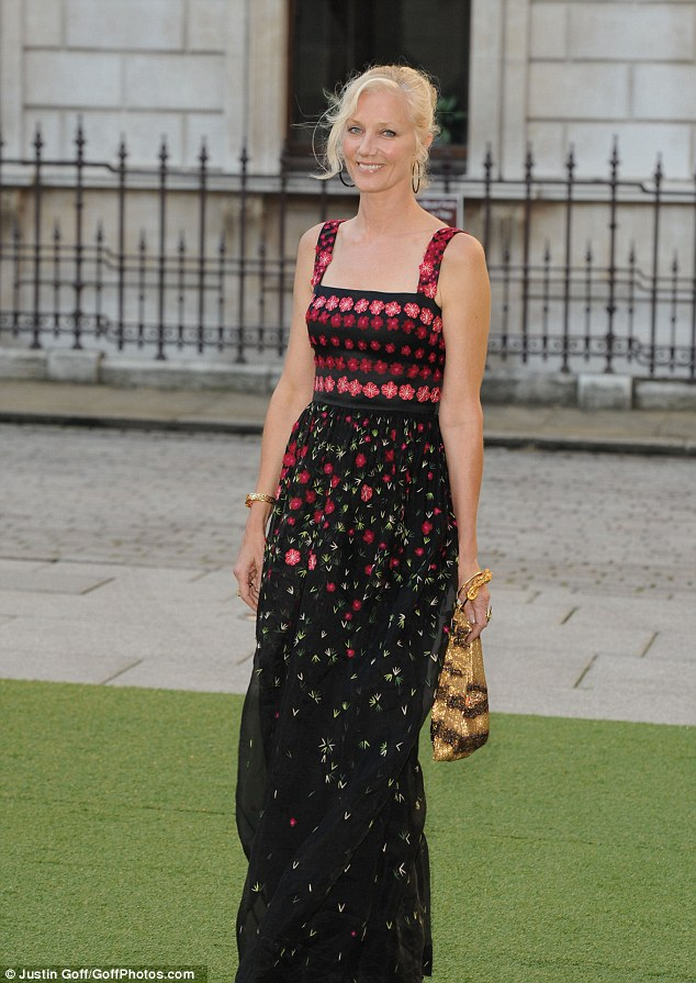 Blooming lovely: Actress Joely Richardson looked stunning in red and black floral summer dress and she pulled her blonde hair back into a simply up-do