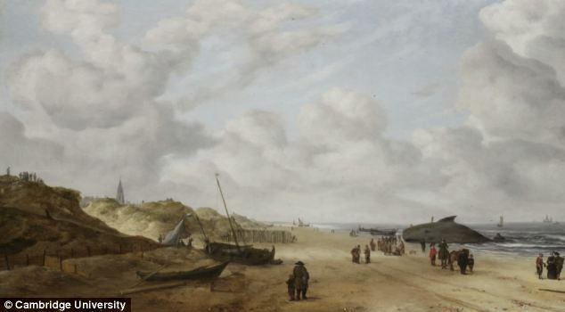 The 'clean' version: The beach scene after restoration revealed a hidden whale in 17th-century Dutch painting