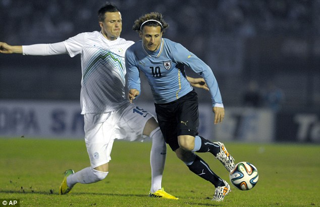 Veteran: Uruguay's Diego Forlan takes on Slovenia's Josip Ilic in the World Cup warmup game