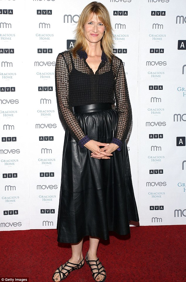 Leather look: Laura Dern arrived in a distinctive outfit New York Moves Magazine Presents Laura Dern 2014 Summer Issue Party in New York City on Wednesday night