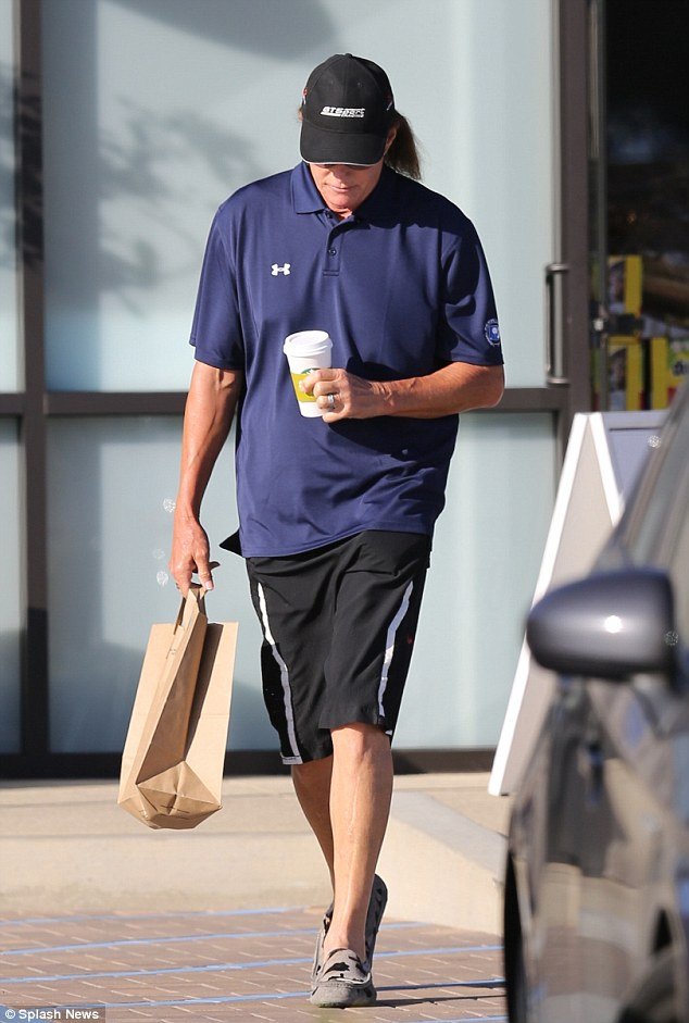 Downcast: Meanwhile Khloe's  step-father Bruce Jenner was seen out in Malibu grabbing coffee