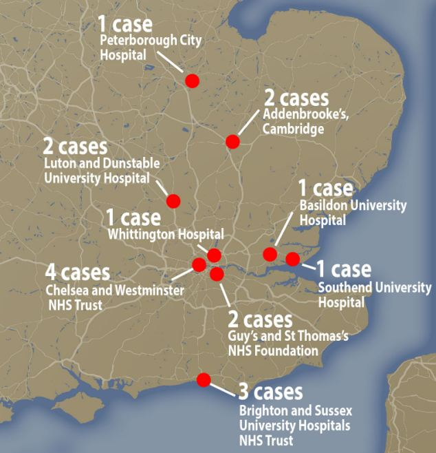 Upsetting: 11 hospitals in England were affected. The Rosie Hospital based at Addebrooke's in Cambridge now has three cases, a rise from the two investigators had previously linked to the contaminated drips