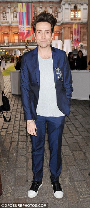 Boys are back in town: Radio DJ Nick Grimshaw (left) and singer Sam Smith (right) arrive at the swanky party