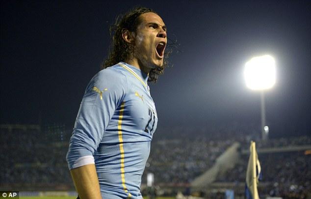 Roar: Cavani will spearhead Uruguay's attack in Brazil over the next few weeks