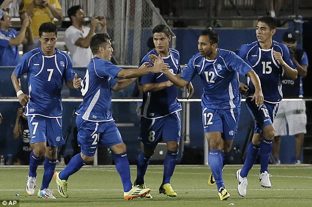 Back in contention: El Salvador scored a late goal through Arturo Alvarez (No 12) but couldn't find an equaliser
