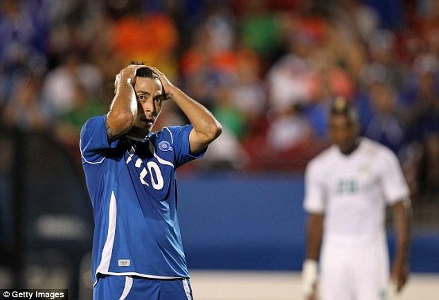 So close: Herbert Sosa reacts after an El Salvador chance goes begging