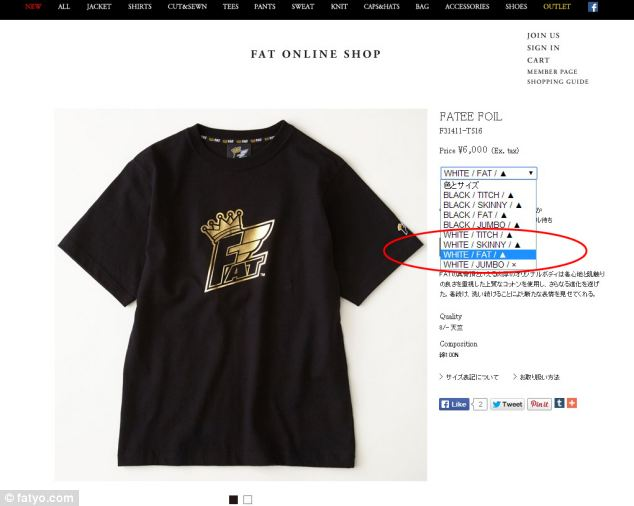 A T-shirt available on the fatyo.com website, which comes in sizes titch, skinny, fat and jumbo, circled