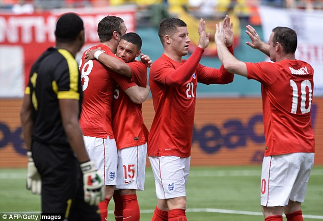 High: England have moved up a place to 10th in the FIFA World Rankings ahead of the World Cup