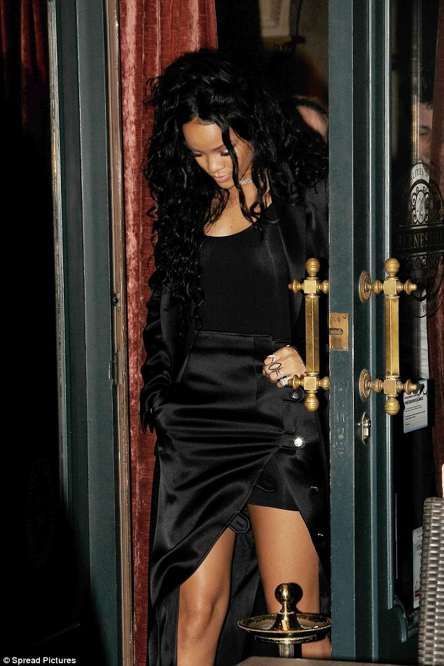 Parisian chic: Rihanna looked stuning in her elegant evening outfit as she went out for a meal in the French capital