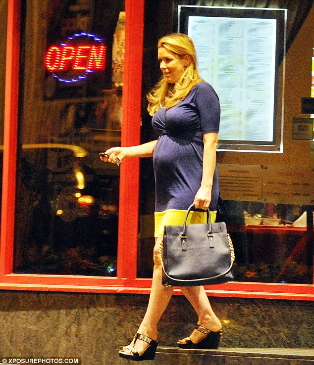 Mum-to-be: Claire Sweeney looked lovely when she left the Mayflower restaurant in Liverpool showing off her baby bump