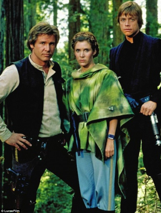 Things have changed: Harrison Ford, Carrie Fisher and Hamill in 1983 film Return Of The Jedi