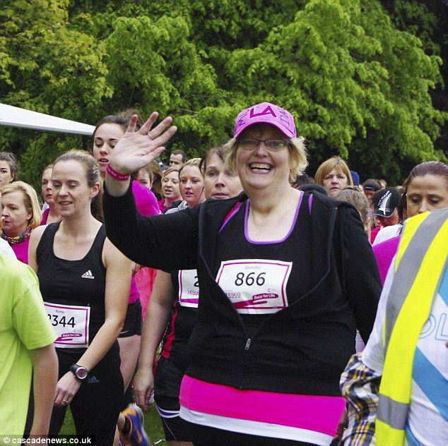 Proud Jennifer completes the 5k Race for Life. She is hoping to raise £1,500 to get the documentary under way