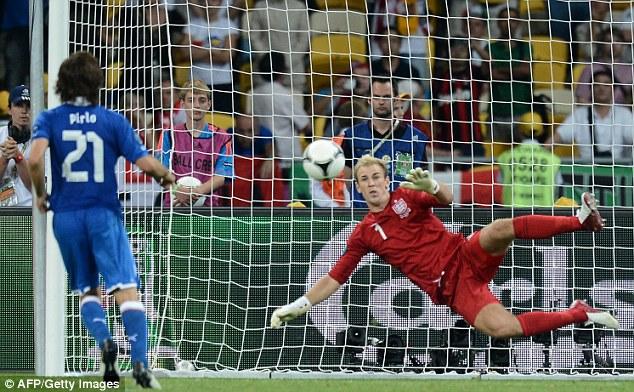 Audacious: Andrea Pirlo scores for Italy past Joe Hart at Euro 2012 with a 'Panenka' penalty