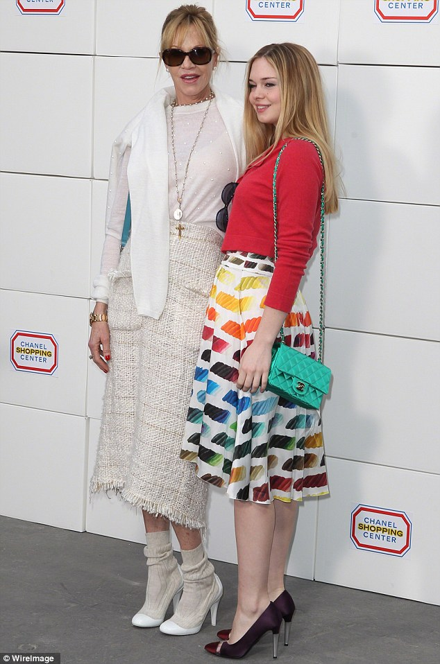 A doting mom: The Body Double actress with Stella in Paris in March for a Chanel event