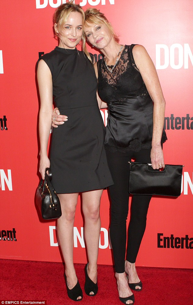 She spent time with others: With her daughter Dakota Johnson, 23, at the Don Jon premiere in NYC in September