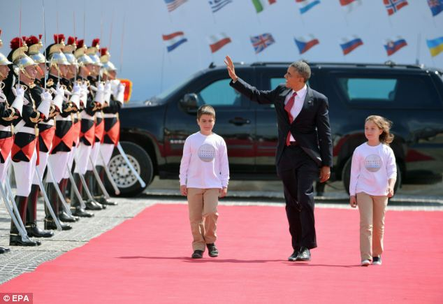 Arrival:  US President Barack Obama attends the Sword Beach ceremony