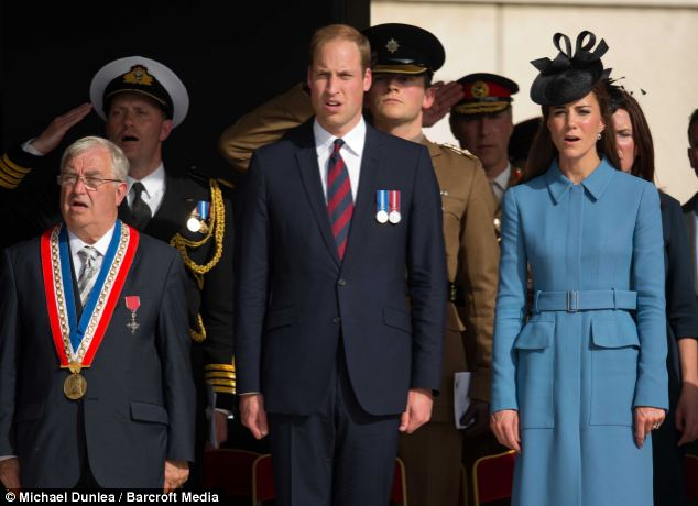 In honour: The royal couple then attended a ceremony with hundreds of veterans - with The Duke making a powerful speech saying hundreds gave their lives 'so we could have our freedom'