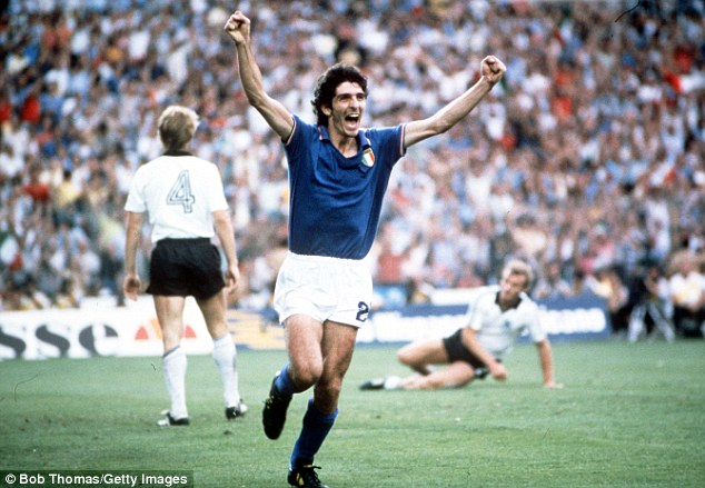Memorable: Paolo Rossi was the hero of the Spain 1982 World Cup for Italy and finished with six goals