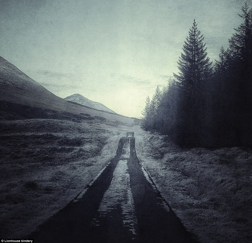 Road to nowhere: Mr Claverly captured this snow-covered, two-track lane in Glen Tula, Scotland
