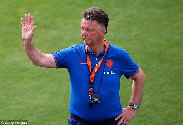 Man in charge: Future Manchester United manager Louis van Gaal waves to spectators during the session