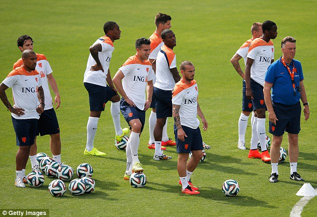 The future's orange! Dutch manager Louis van Gaal (R) and players watch on during the training session