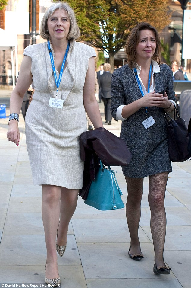 Fired: Home Secretary Theresa May, left, was forced to fire her aide Fiona Cunningham, right, in the aftermath of a vicious row with Michael Gove